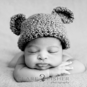 african american newborn with bear ear hat