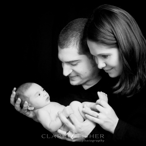 Newborn family black and white