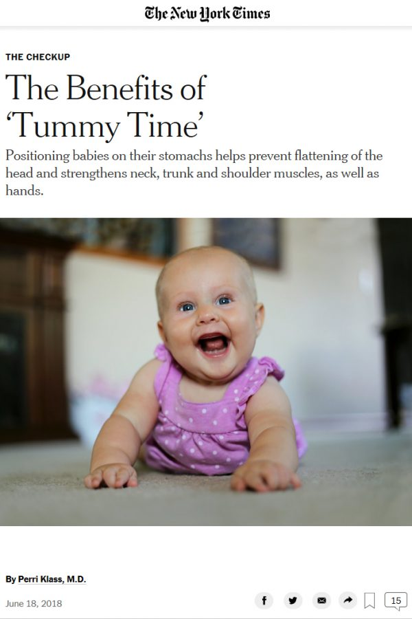 An article from the New York Times about the benefits of tummy time for babies.