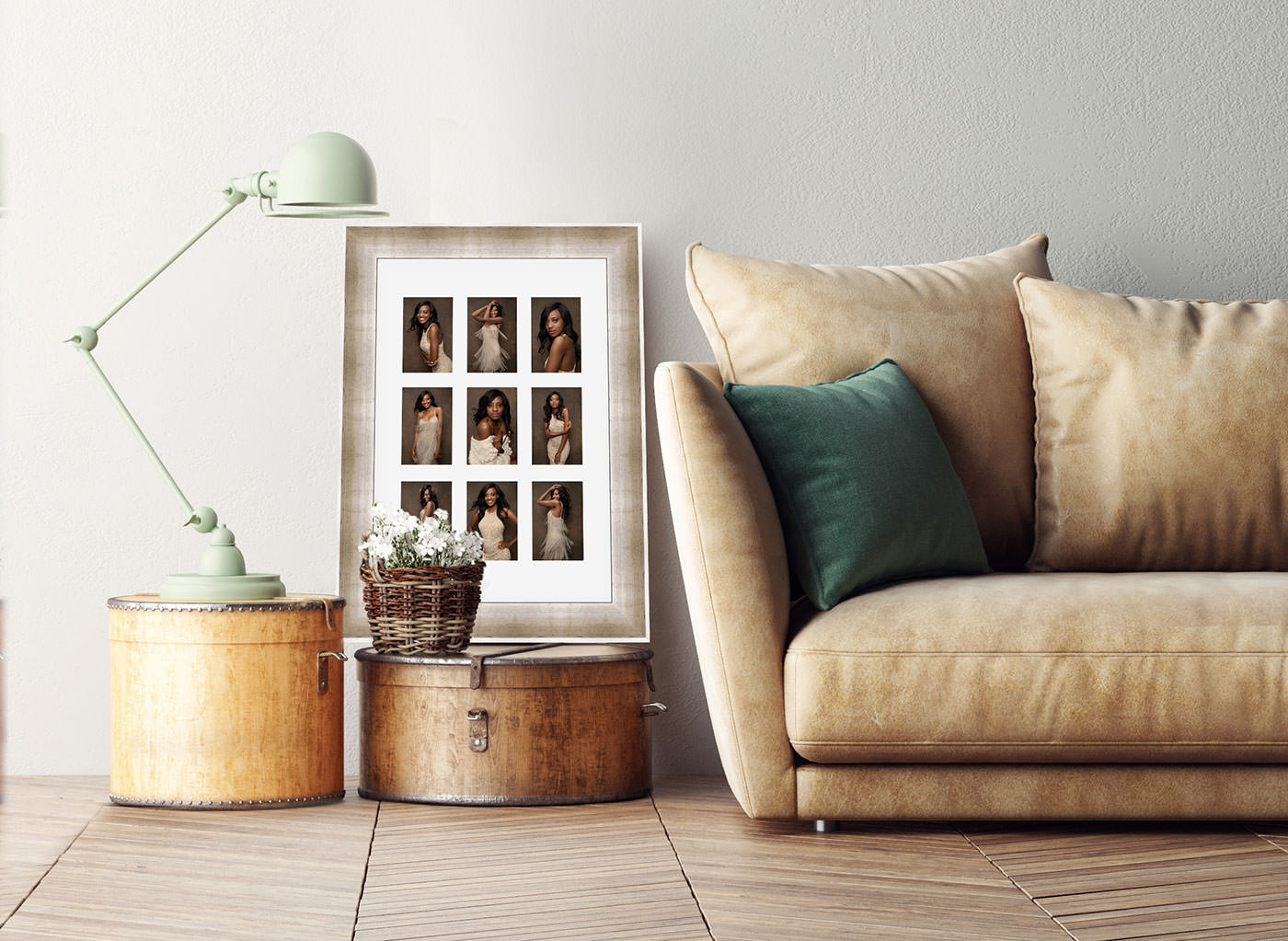 a framed 9 image composite beside a couch and end table.