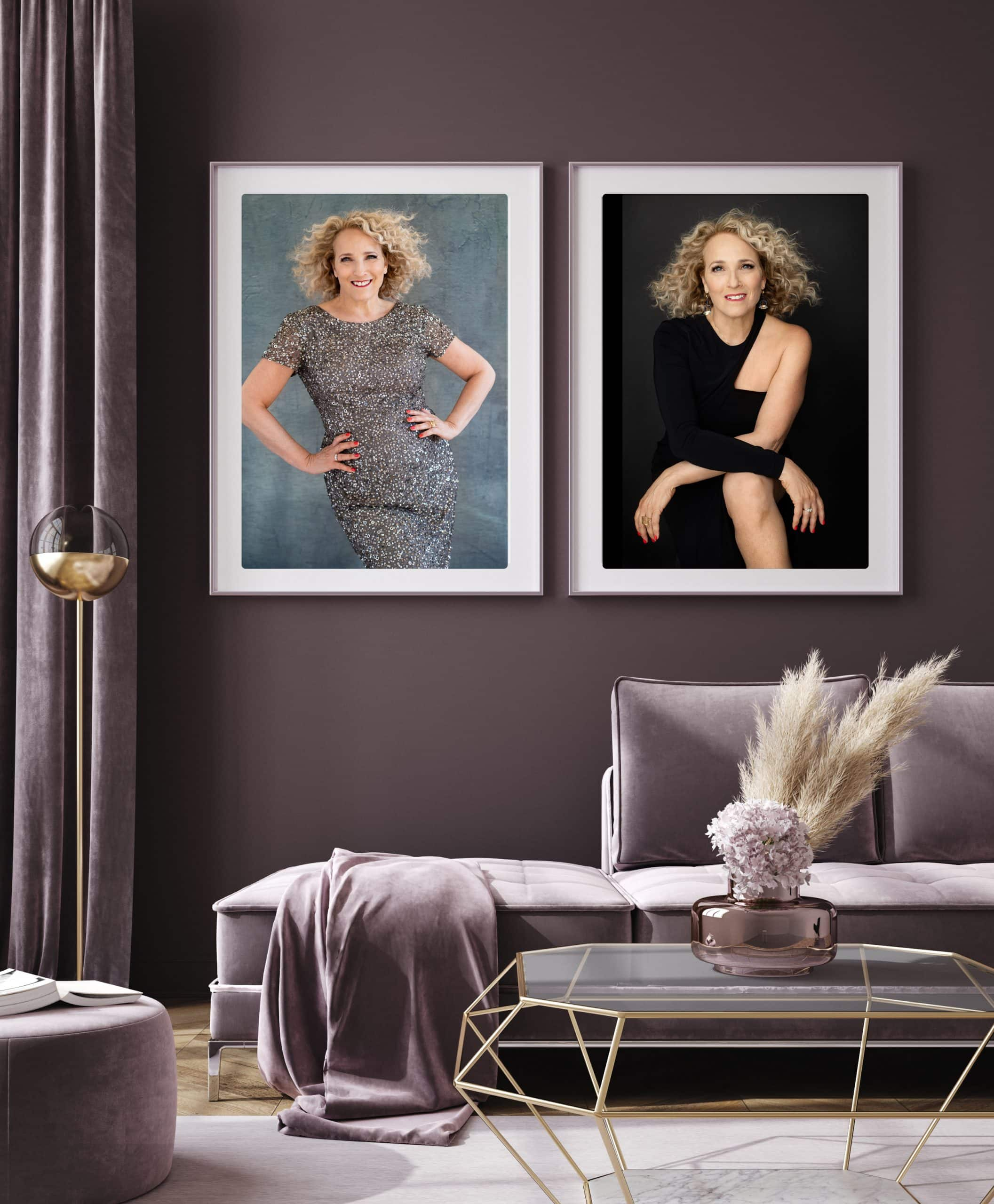 Framed images of woman from the 50 over 50 promotion displayed on a wall