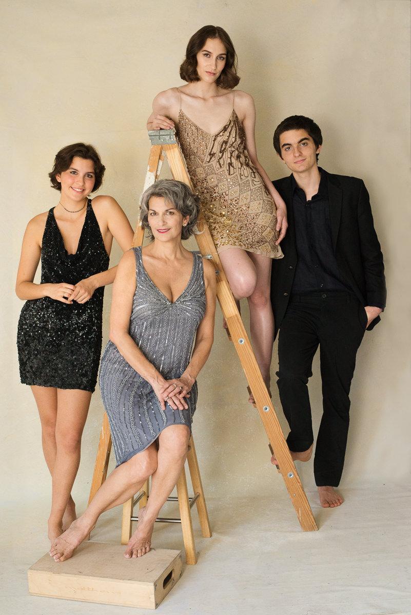 Family-portrait around a ladder